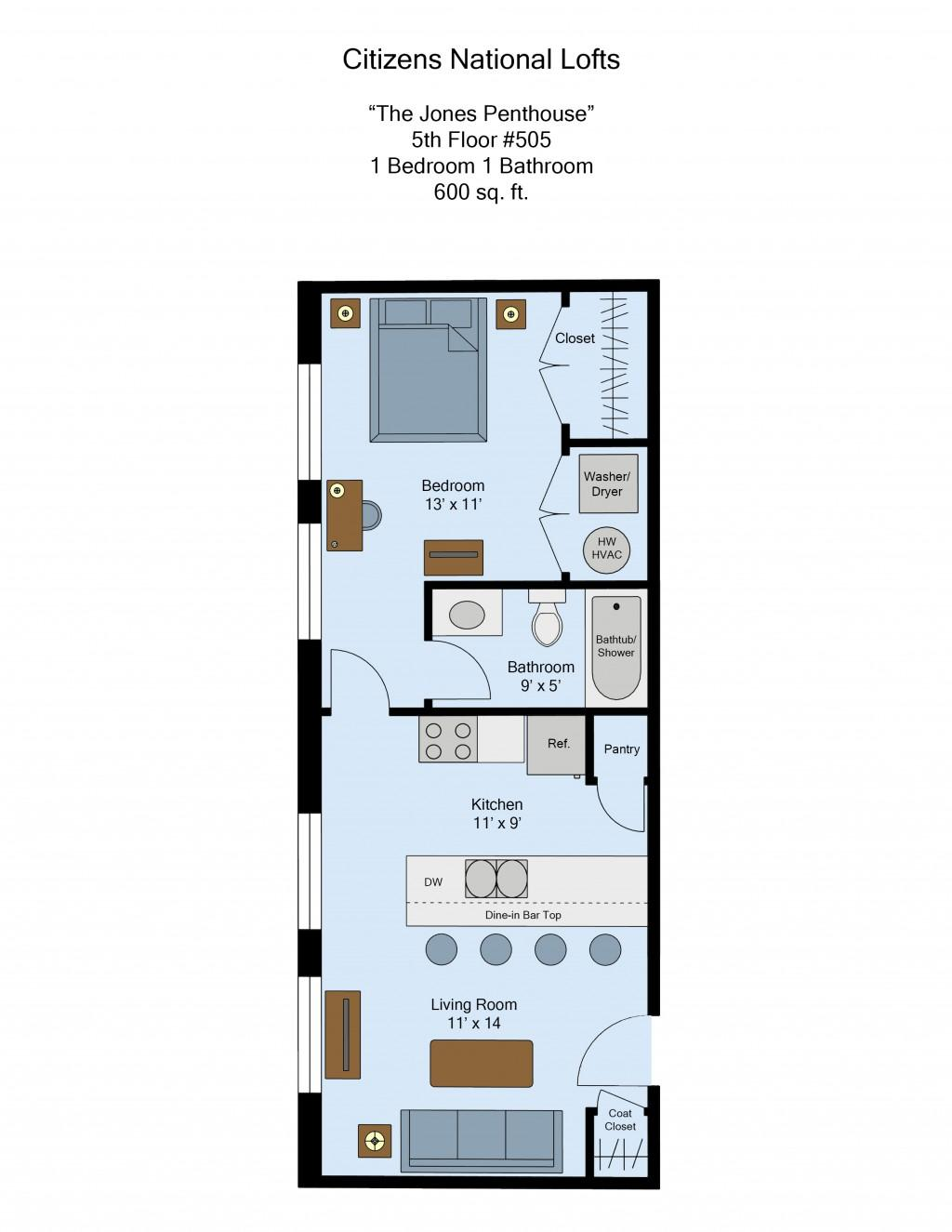 Citizens National Lofts 1-Bed